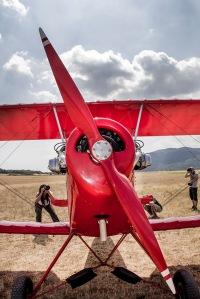 avión antiguo rojo